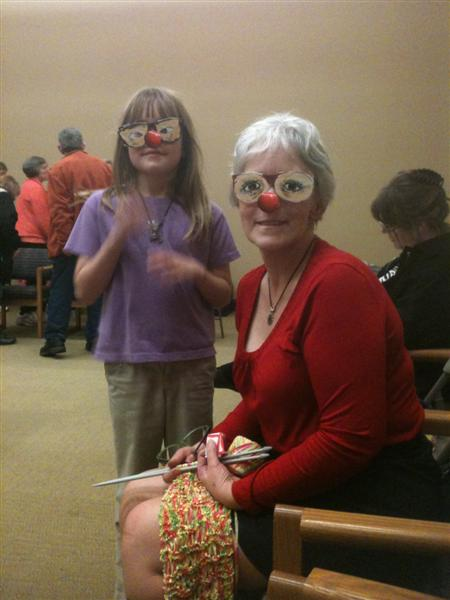 Mother and daughter in special glasses