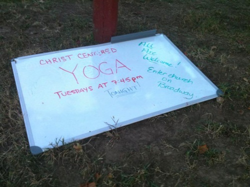 Christ Centered Yoga sign