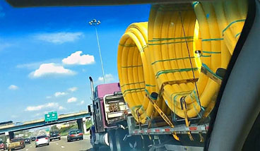 Big Yellow Hoops ahead on the highway.