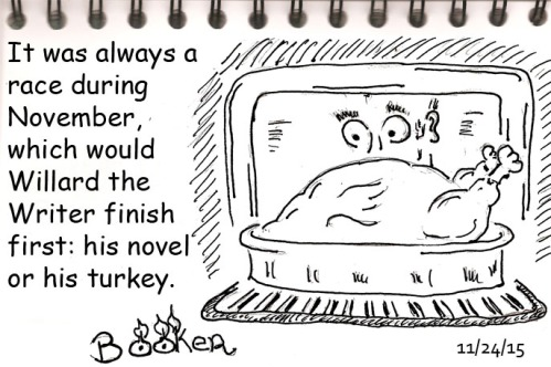 At least during this National Novel Writing Month, Willard remembered to thaw the bird before trying to bake it.