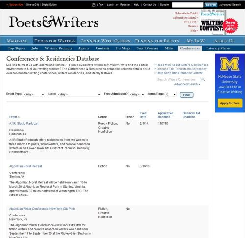 Sample of the Poets & Writers database.
