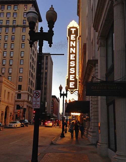 Friday night on the town, awaiting the start of Mark Twain Tonight at The Tennessee Theatre.