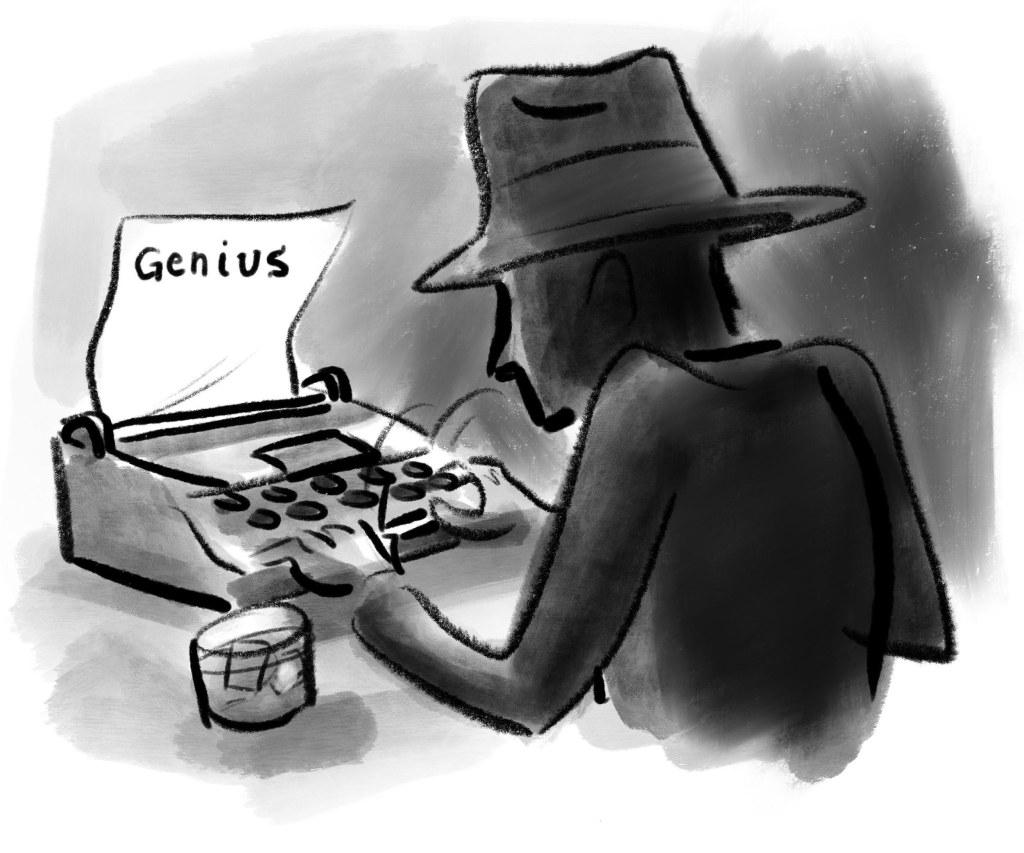 Man at a typewriter; a writing instrument.